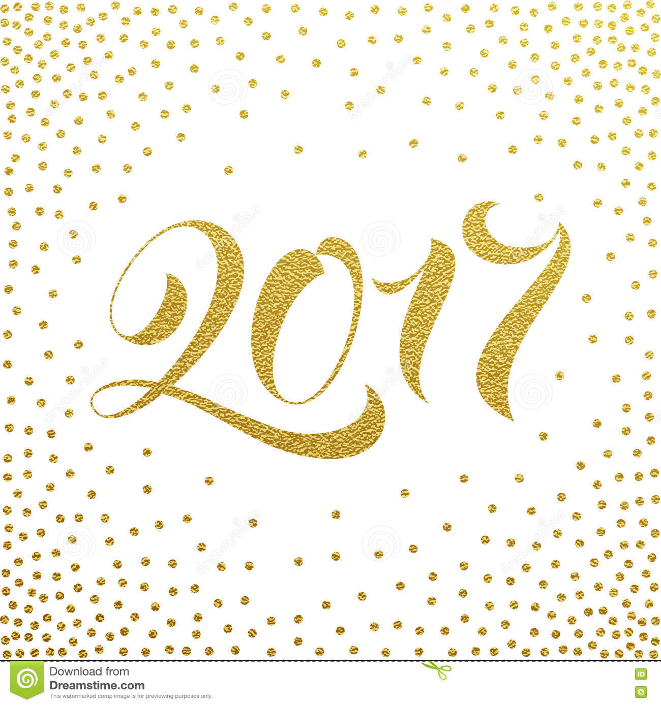 happy new year 2017 gold glitter greeting card