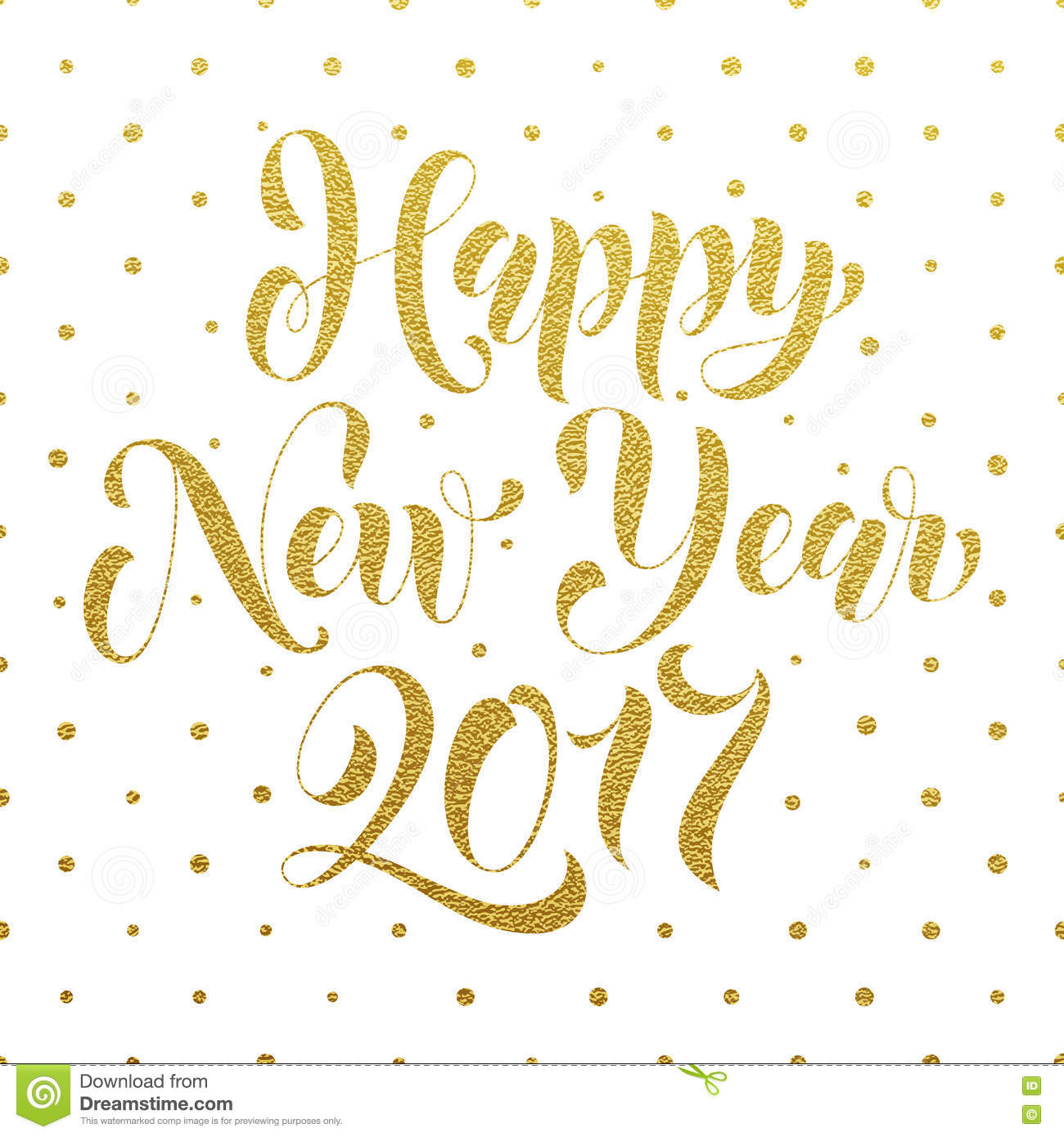 Happy New Year 2017 Gold Glitter Greeting Card Stock Illustration ...