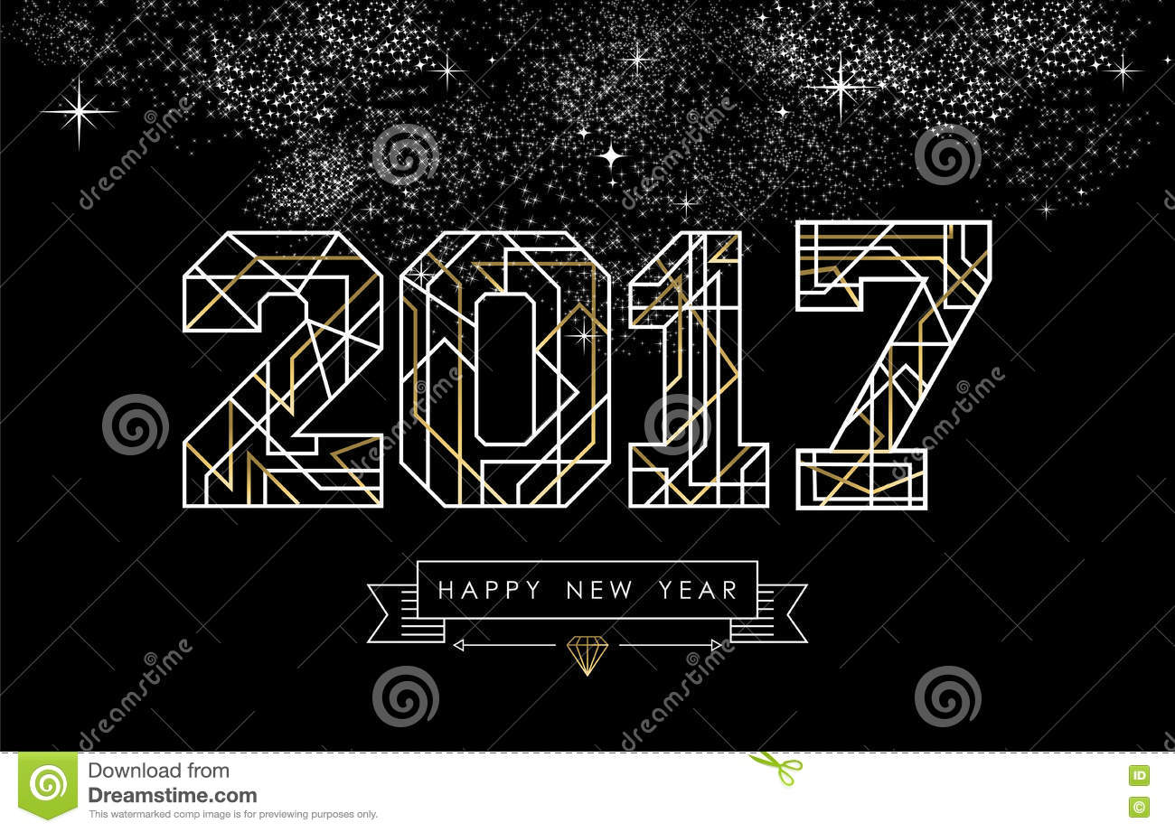 Line Art Card Design : Happy new year gold line art greeting card stock