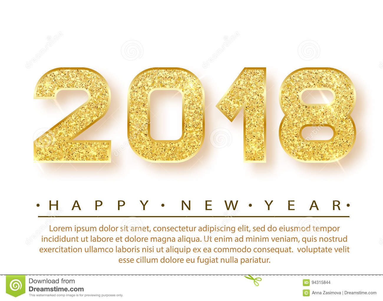 2018 happy new year gold numbers design of greeting card gold shining pattern happy new year banner with 2018 numbers on bright background