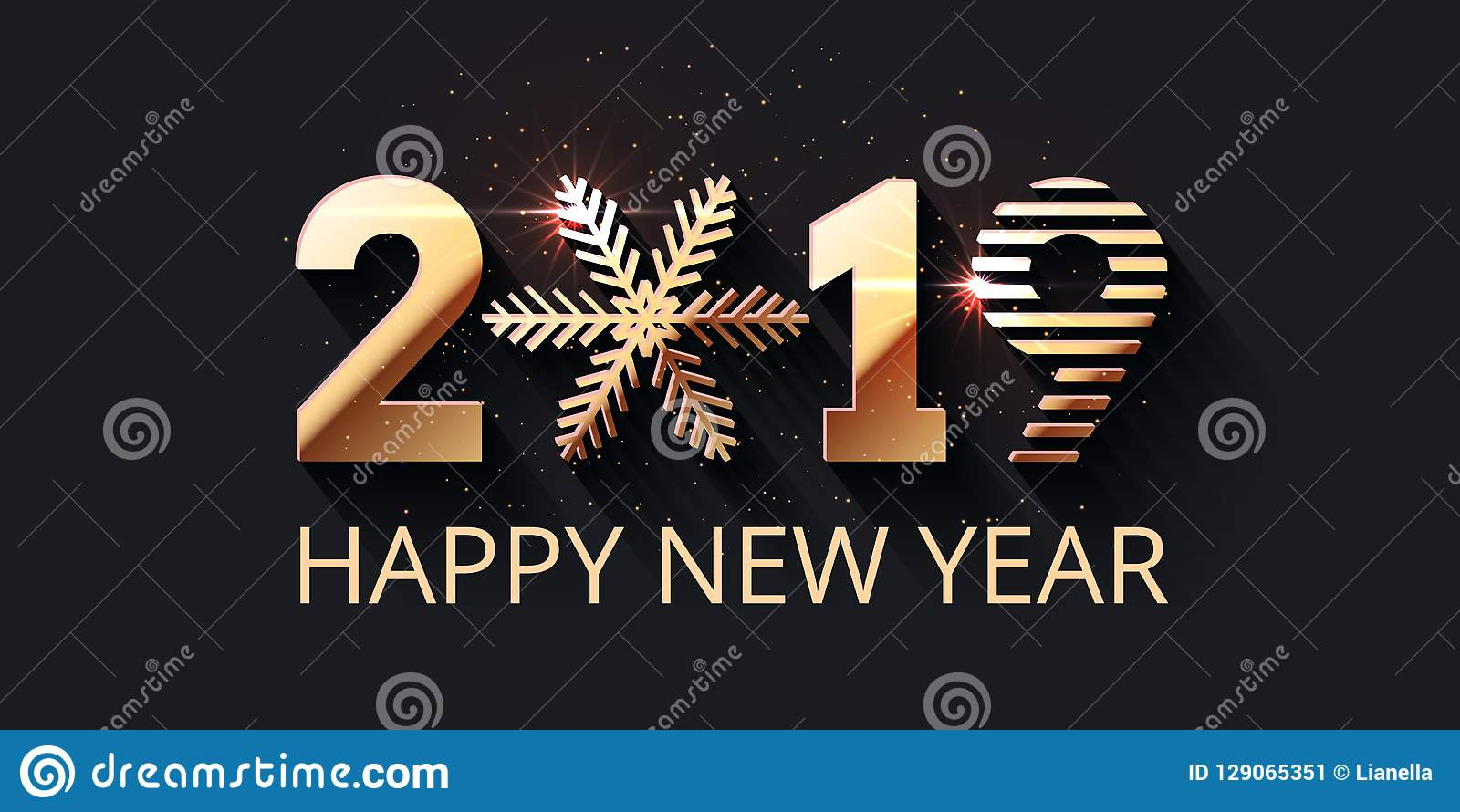 Happy New Year 2019 Gold Text Design Stock Vector ...