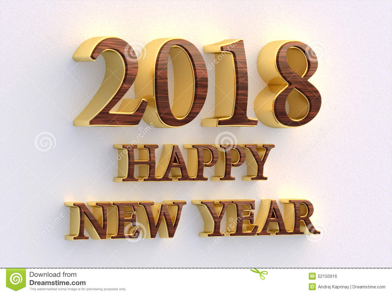 Happy New Year 2018. Gold And Wood Text - 3D Design Template On