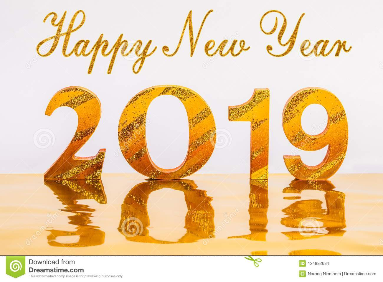 Happy new year 2019 with gold writing in golden background - Lucky color for new year 2019 ...