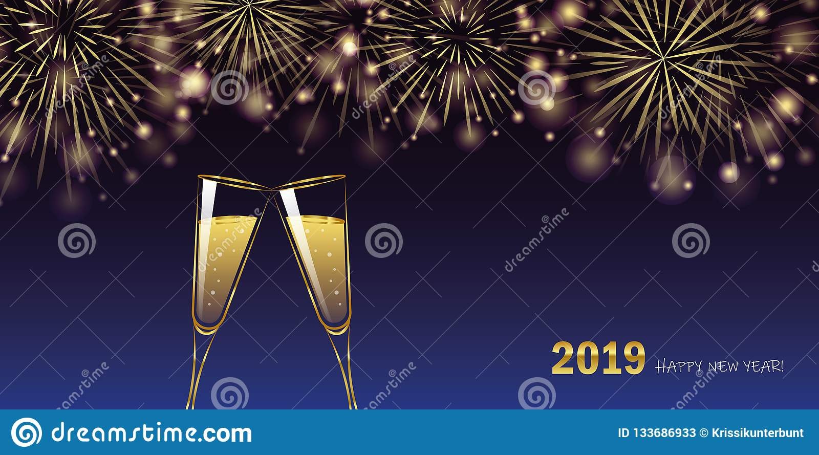 Happy new year 2019 golden firework and champagne glasses greeting card