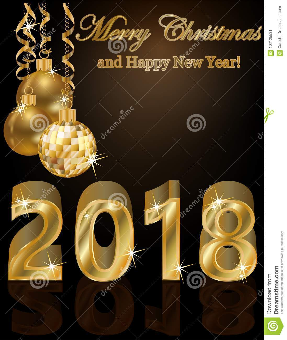 happy new 2018 year golden greeting wallpaper download preview