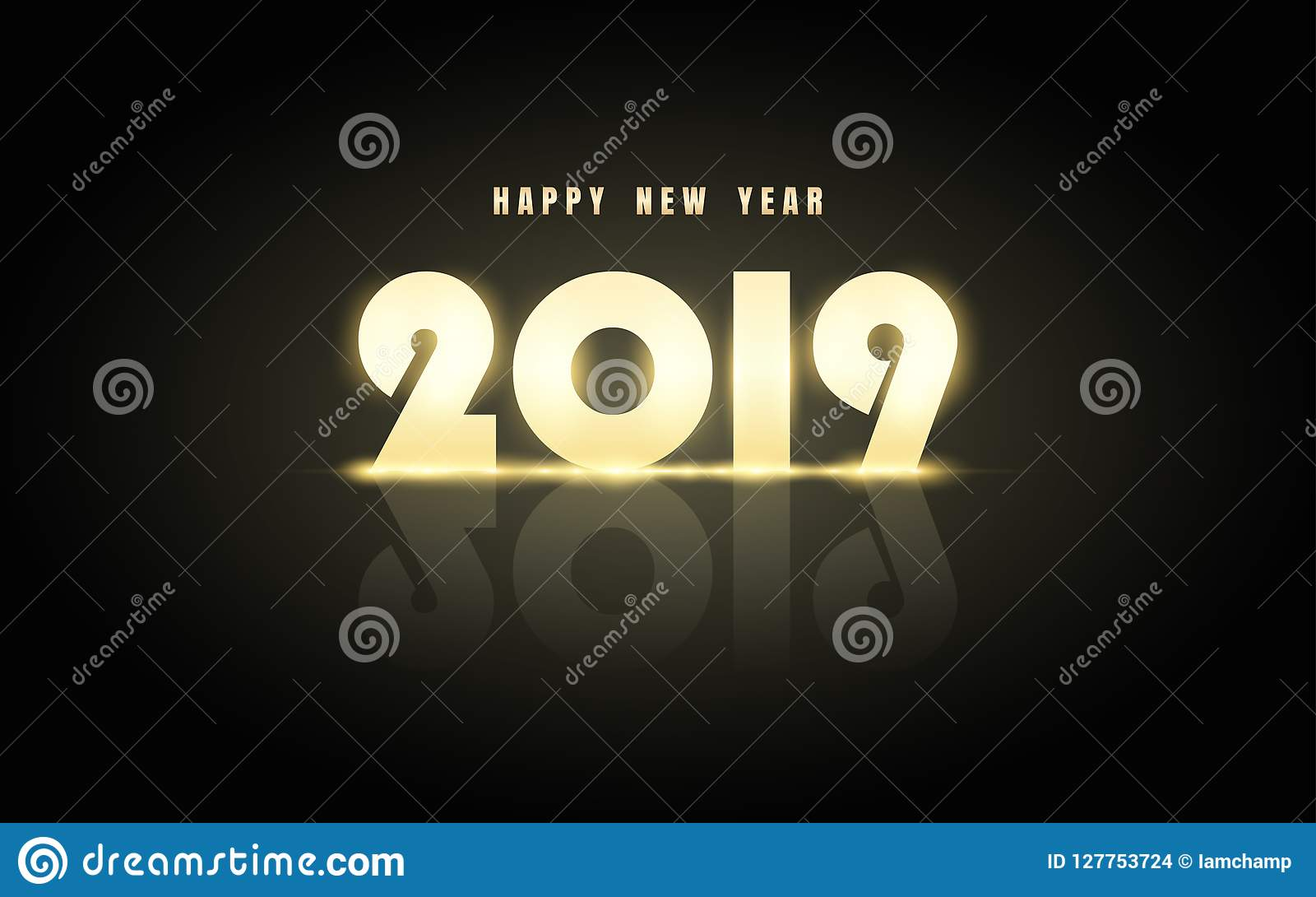 Happy new year 2019 in golden label with reflection on - New year 2019 color ...