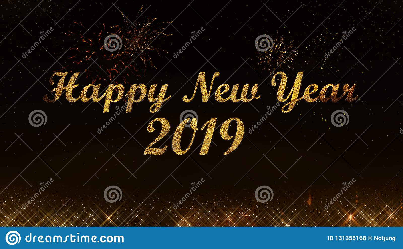 merry christmas and happy new year 2019 golden light shine particles black background