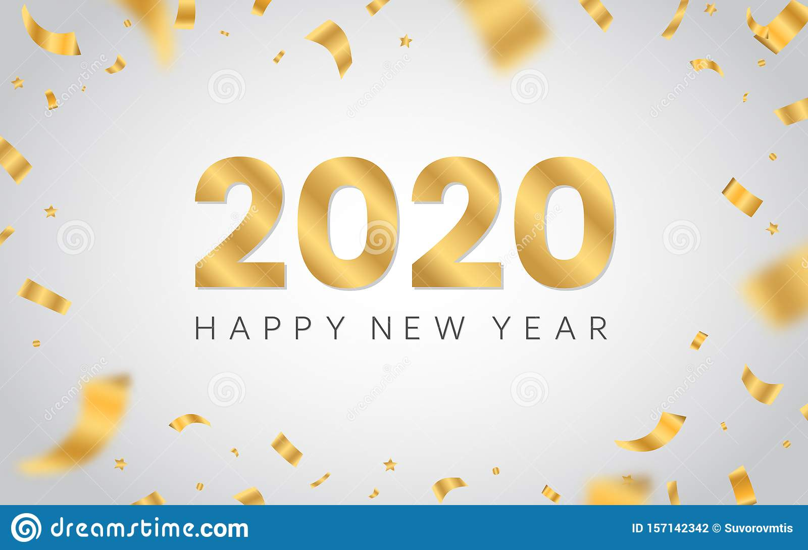 2020 Christmas White Background Happy New Year 2020. Golden Luxury Text On White Background