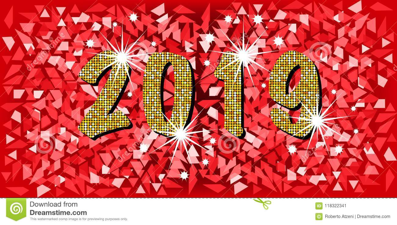 2019 happy new year with golden mosaic glitter texture background abstract modern style vector illustration