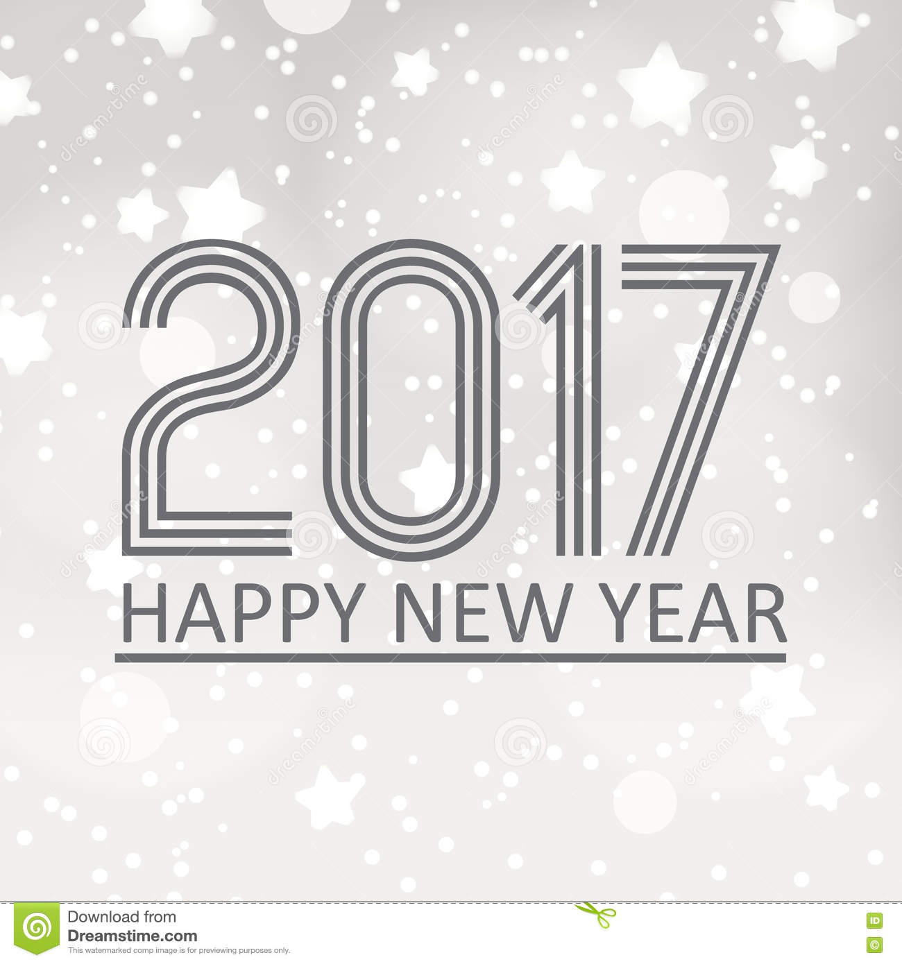 happy new year 2017 on gray silver bokeh background with stars and snow eps10
