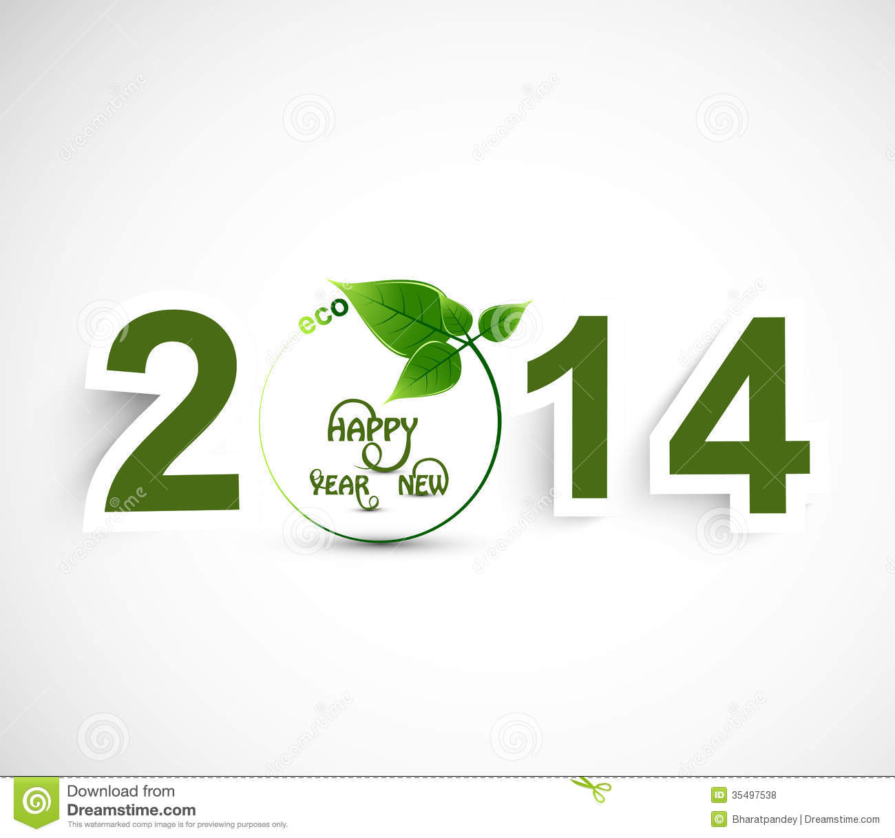 happy new year 2014 green colorful background