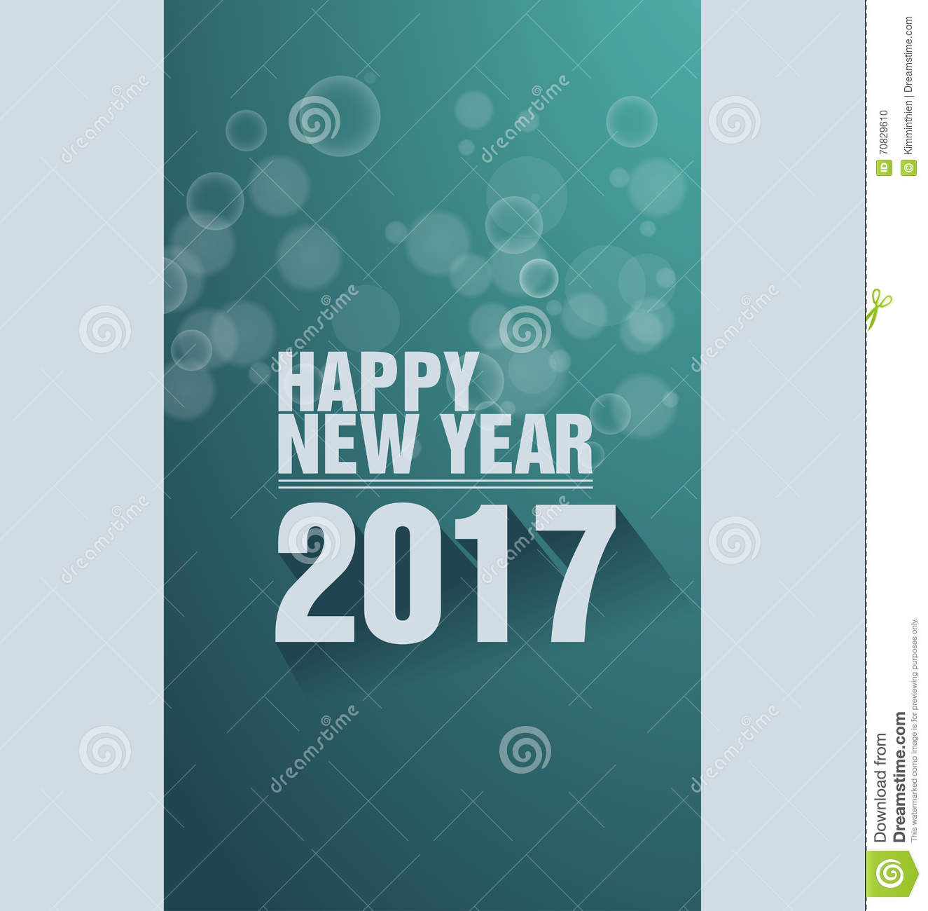 Happy New Year Greeting Card 2017 Stock Vector   Image: 70829610