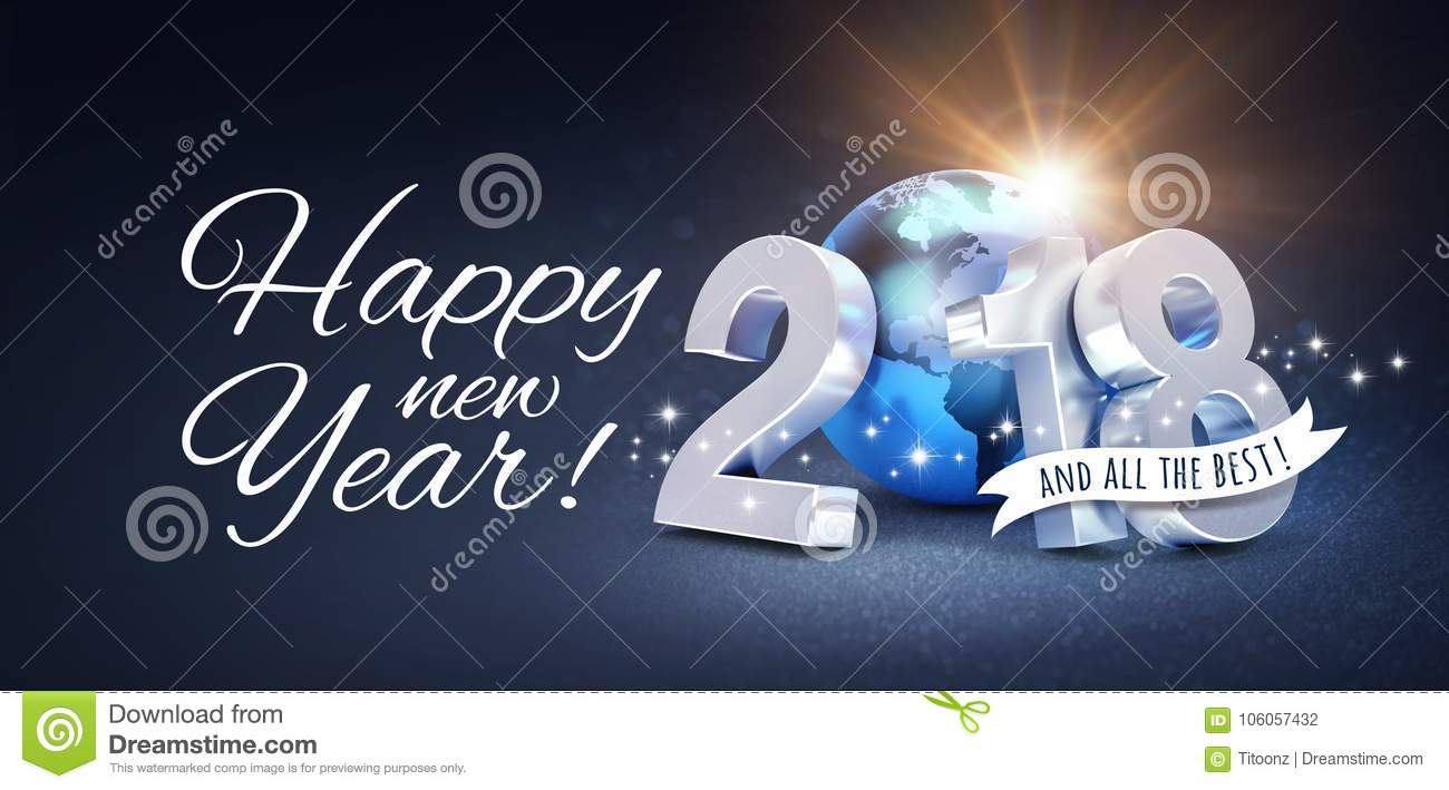 Happy New Year 2018 Greeting Card For All The Best Stock