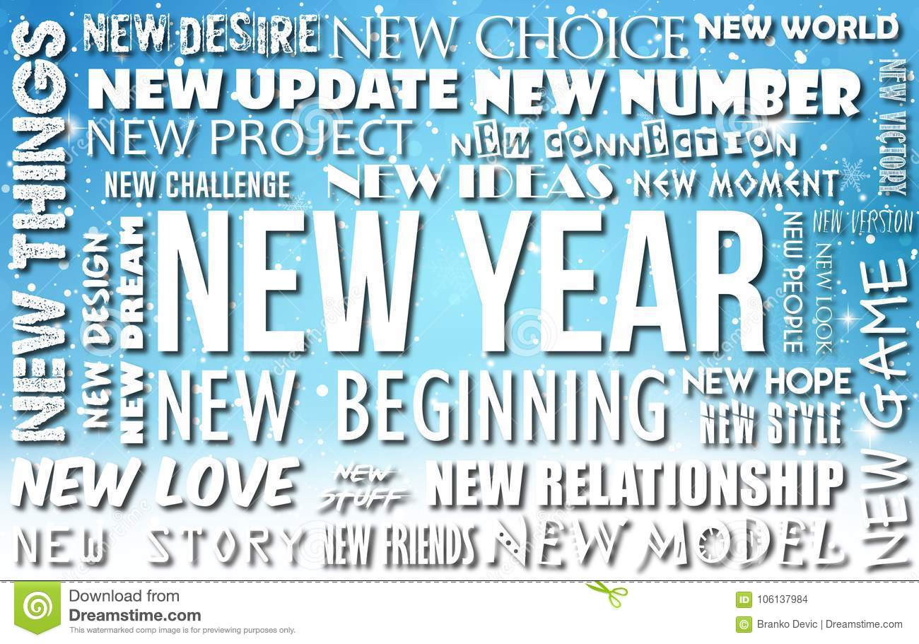 Happy New Year Greeting Card Background Illustration With Text