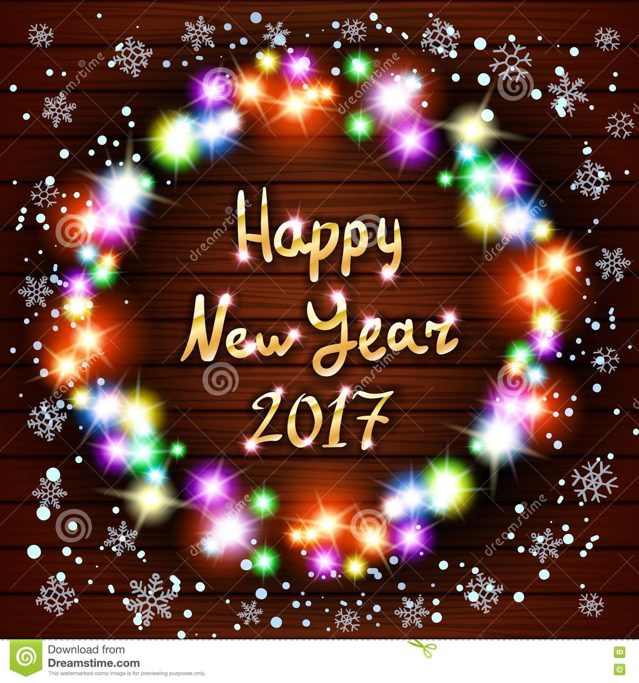 Happy New Year Greeting Card With Best Wishes Congratulations ...