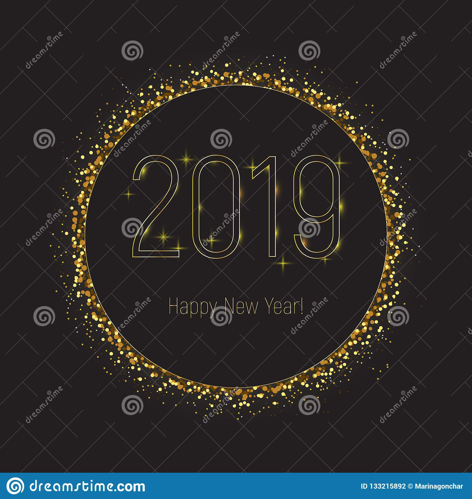 2019 happy new year greeting card black circle with gold glitter border