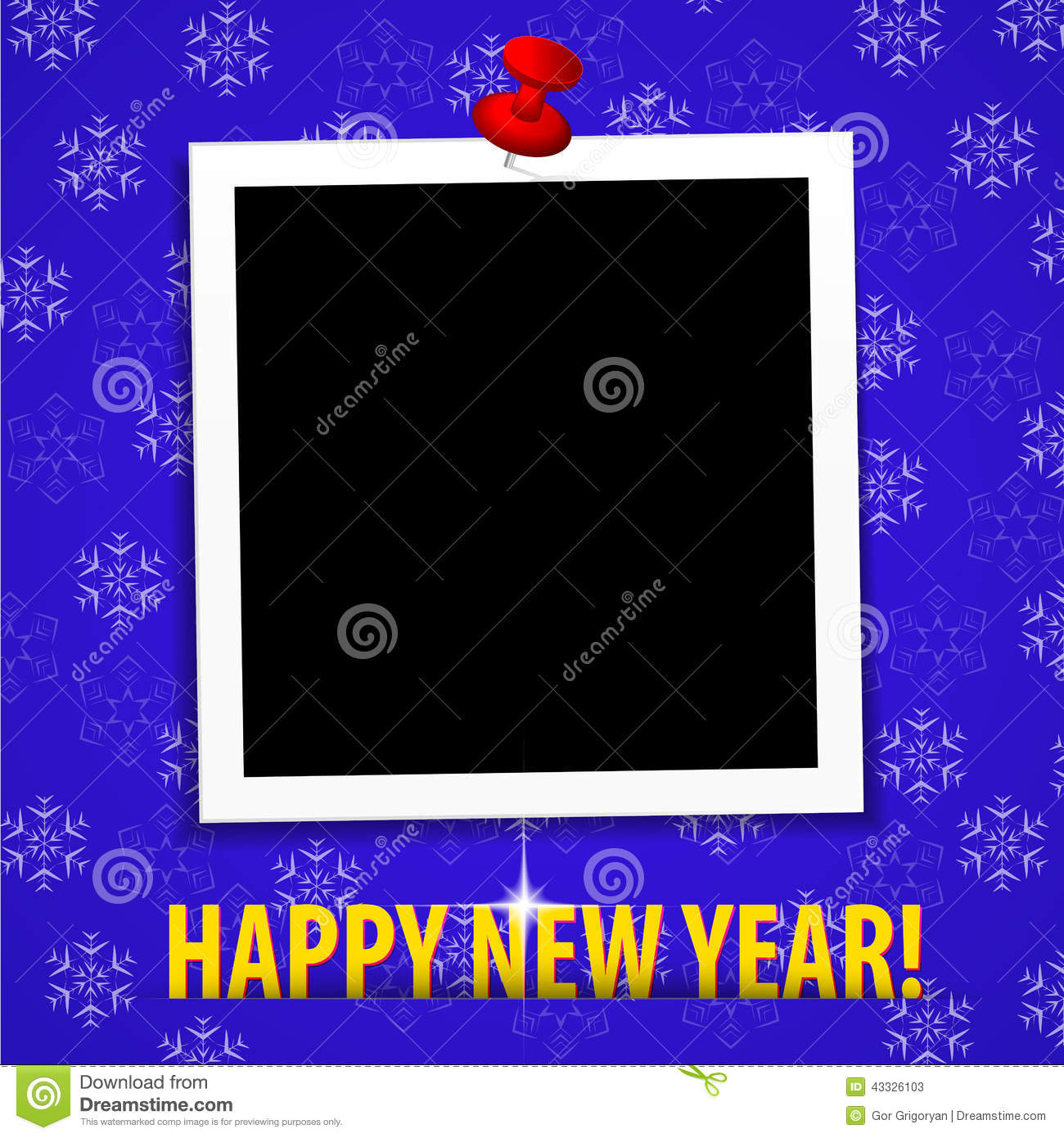 Happy New Year Greeting Card With Blank Photo Frame Stock Vector