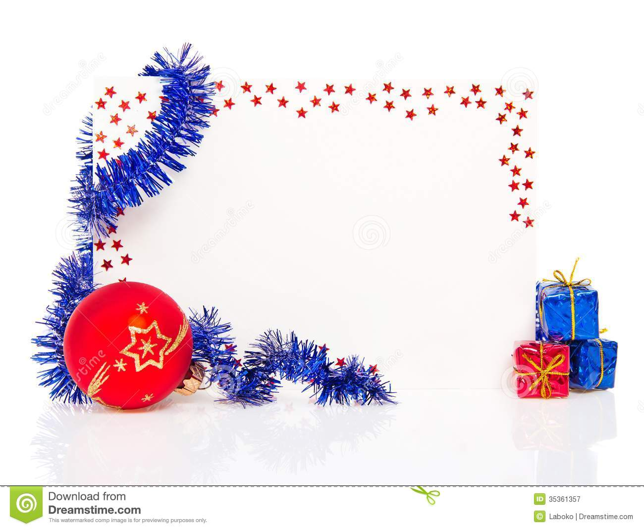 happy new year greeting card with blue tinsel