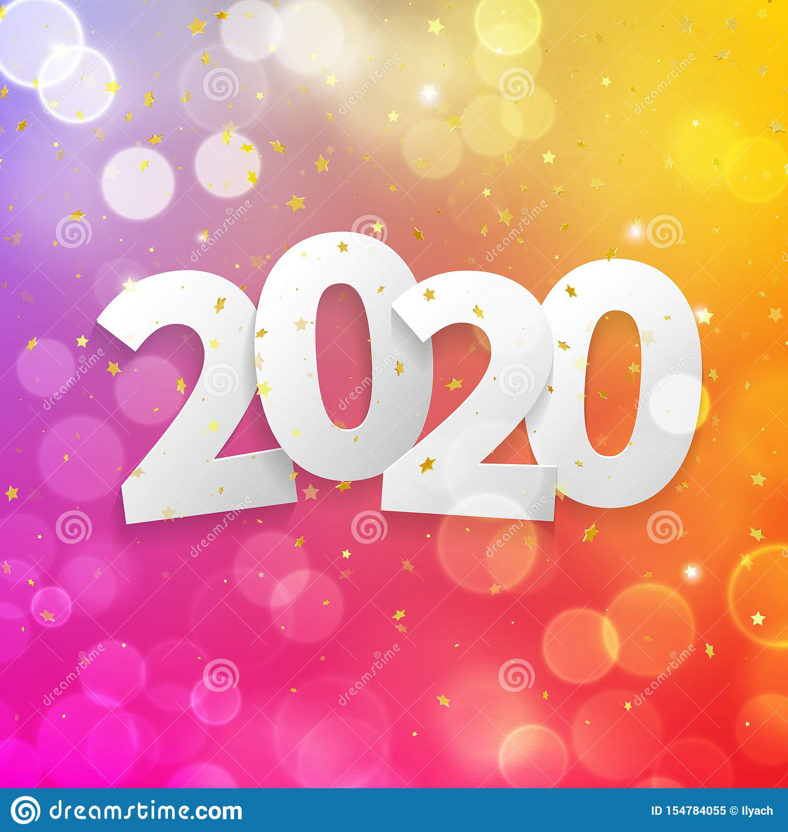 2020 Happy New Year Greeting Card With Bokeh Lights Of