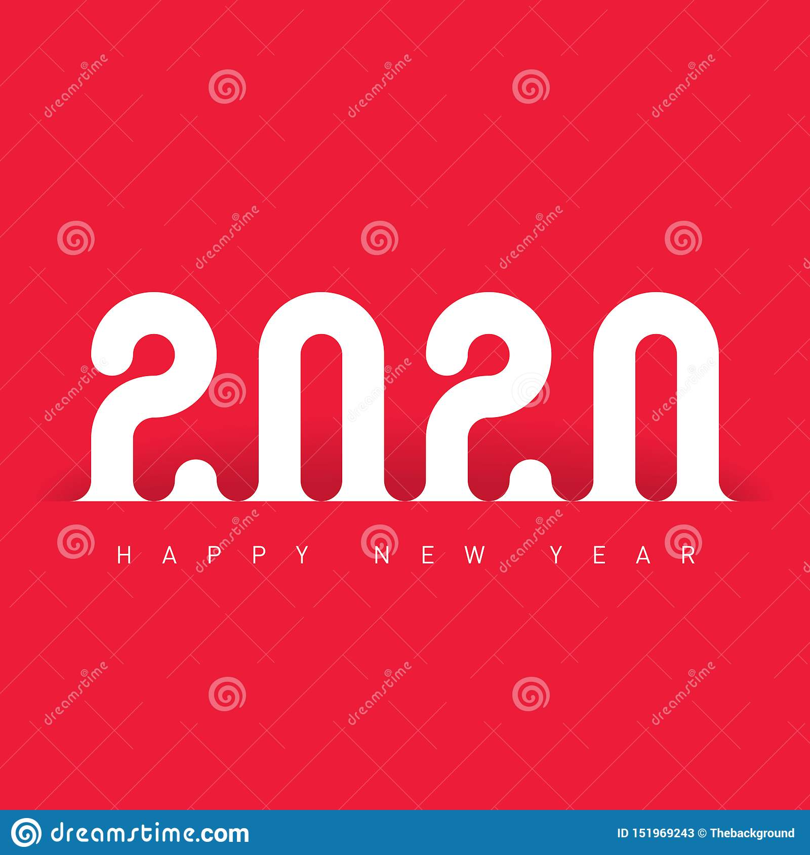 Happy New Year 2020. Greeting Card Or Calendar Design ...