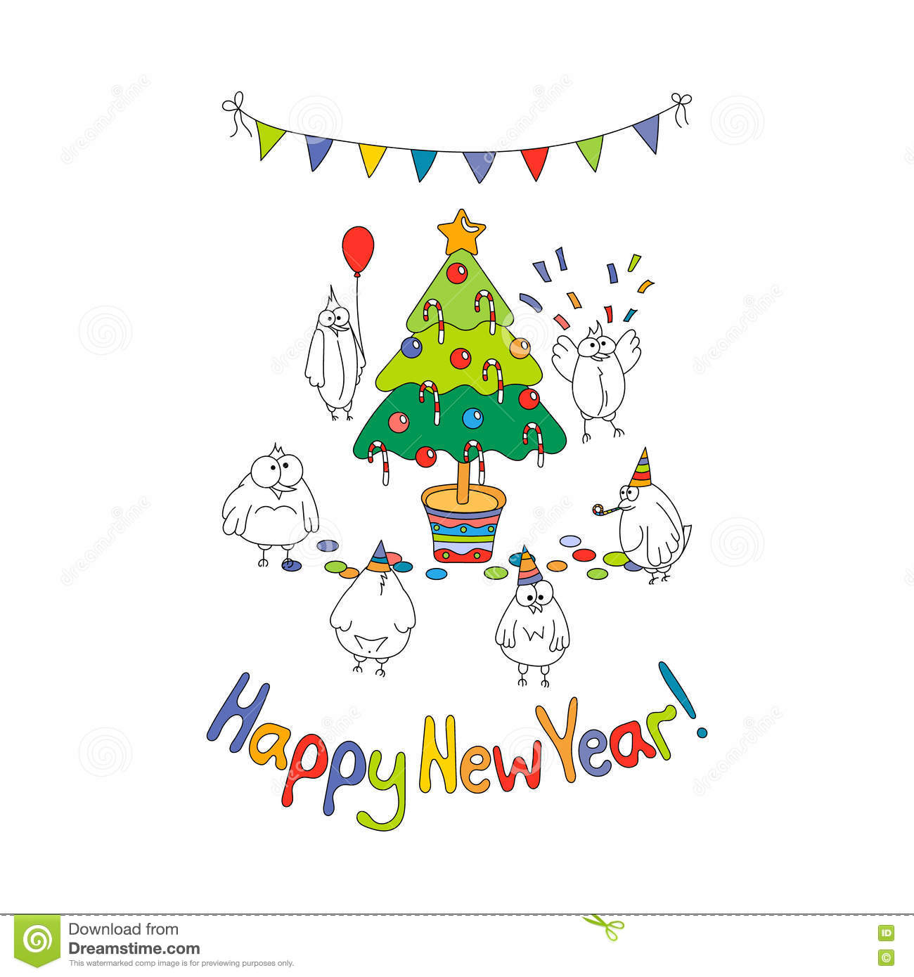 Happy new year greeting card with cartoon funny birds stock vector download happy new year greeting card with cartoon funny birds stock vector illustration of m4hsunfo