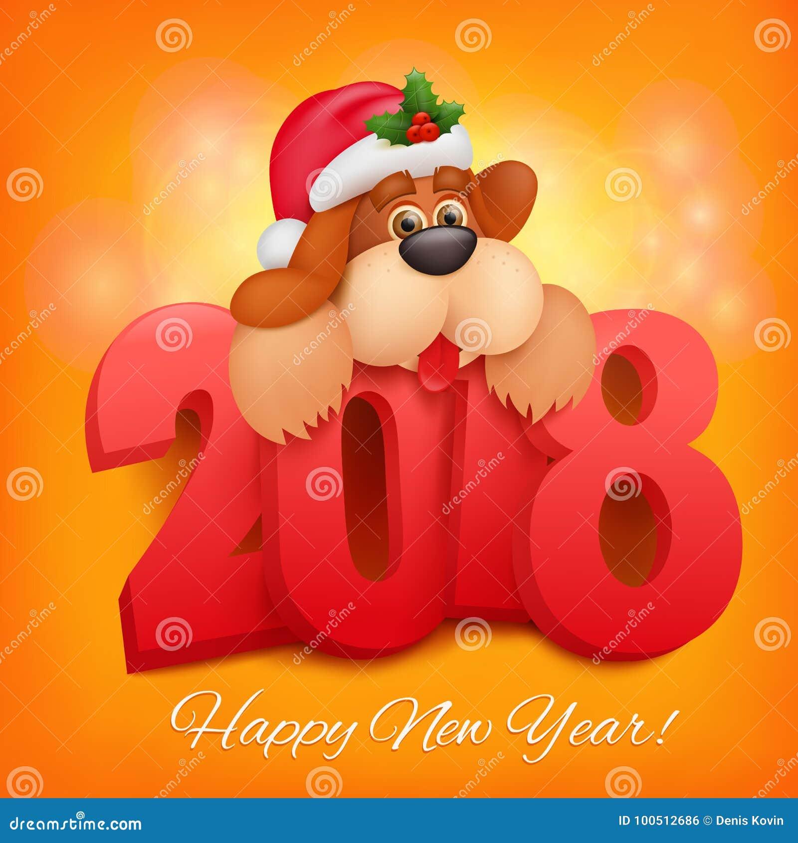 2018 happy new year greeting card celebration background with funny 2018 happy new year greeting card celebration background with funny dog character m4hsunfo