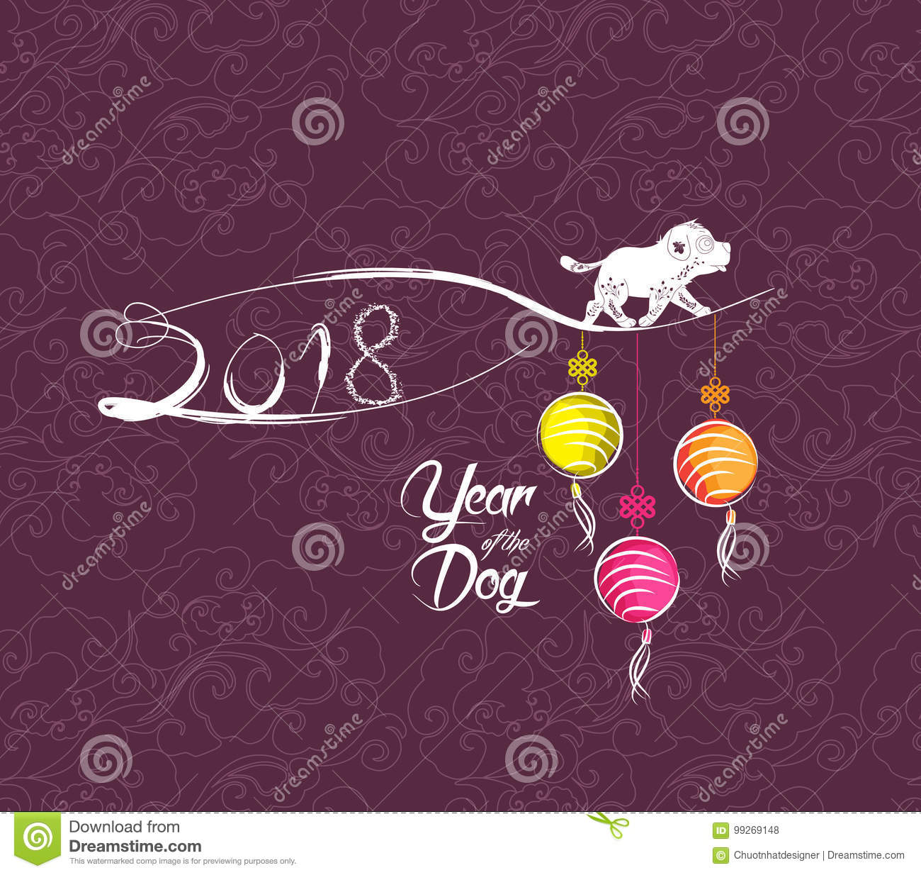 Happy New Year 2018 Greeting Card Chinese New Year Of The Dog Stock