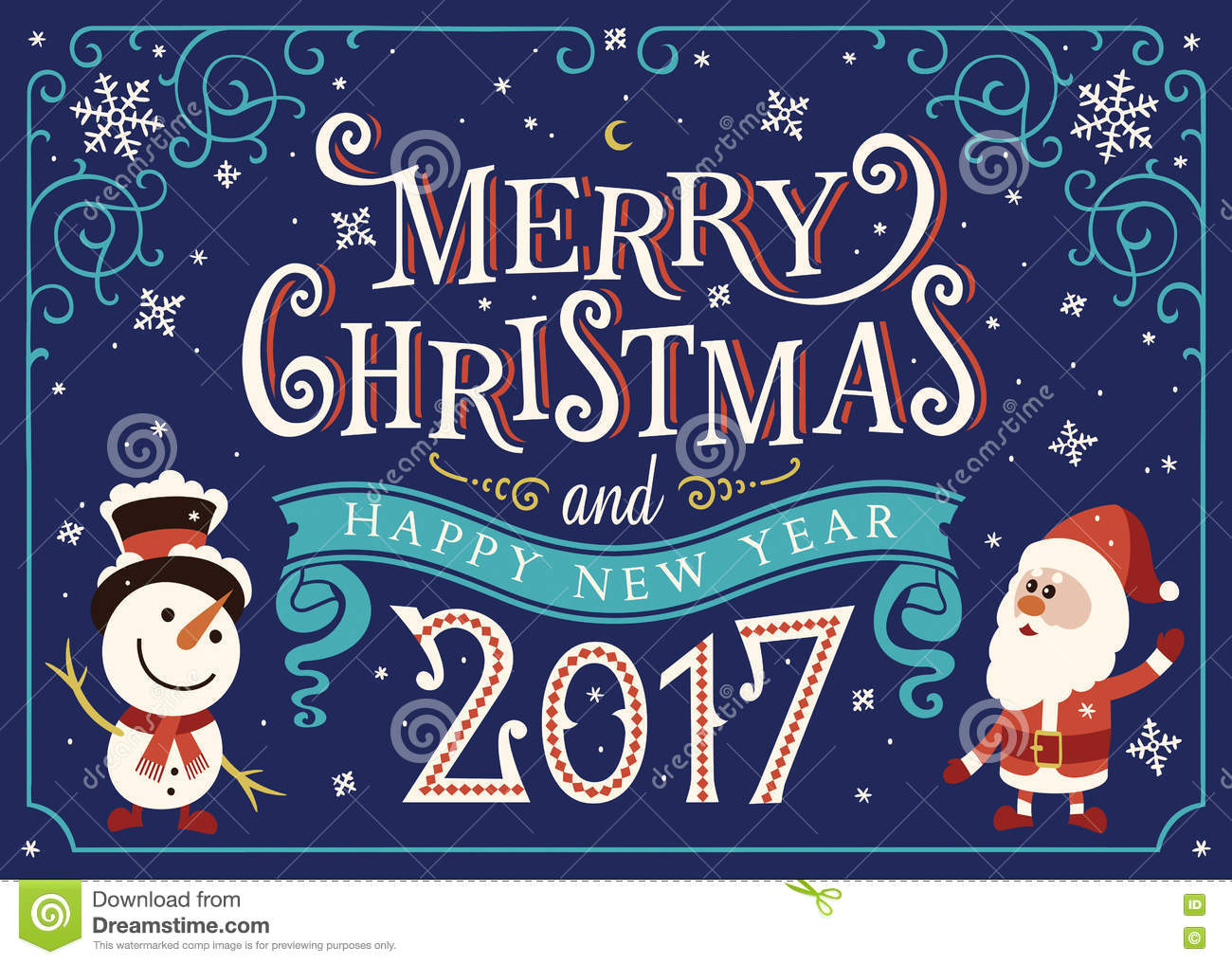 2017 Happy New Year Greeting Card Christmas Card Stock Vector