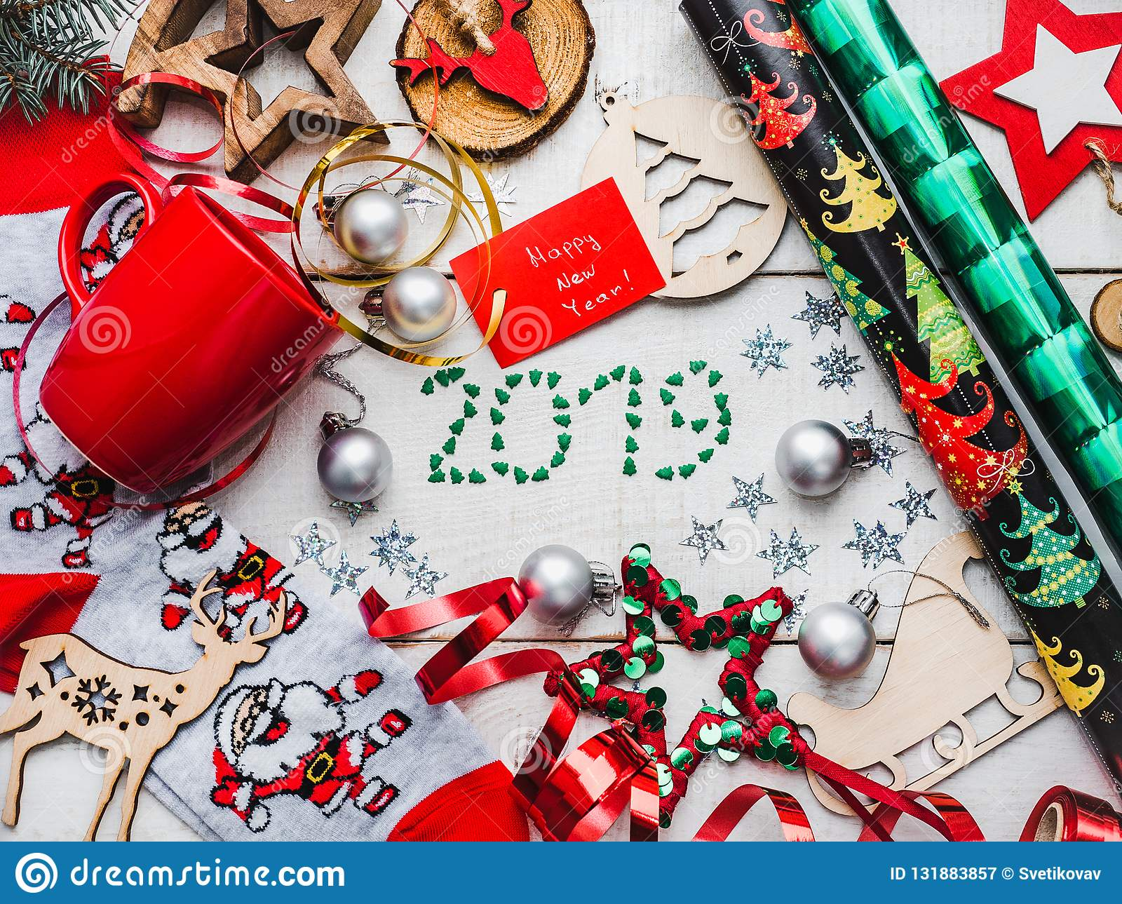 Happy New Year Greeting Card. Colorful Christmas ...