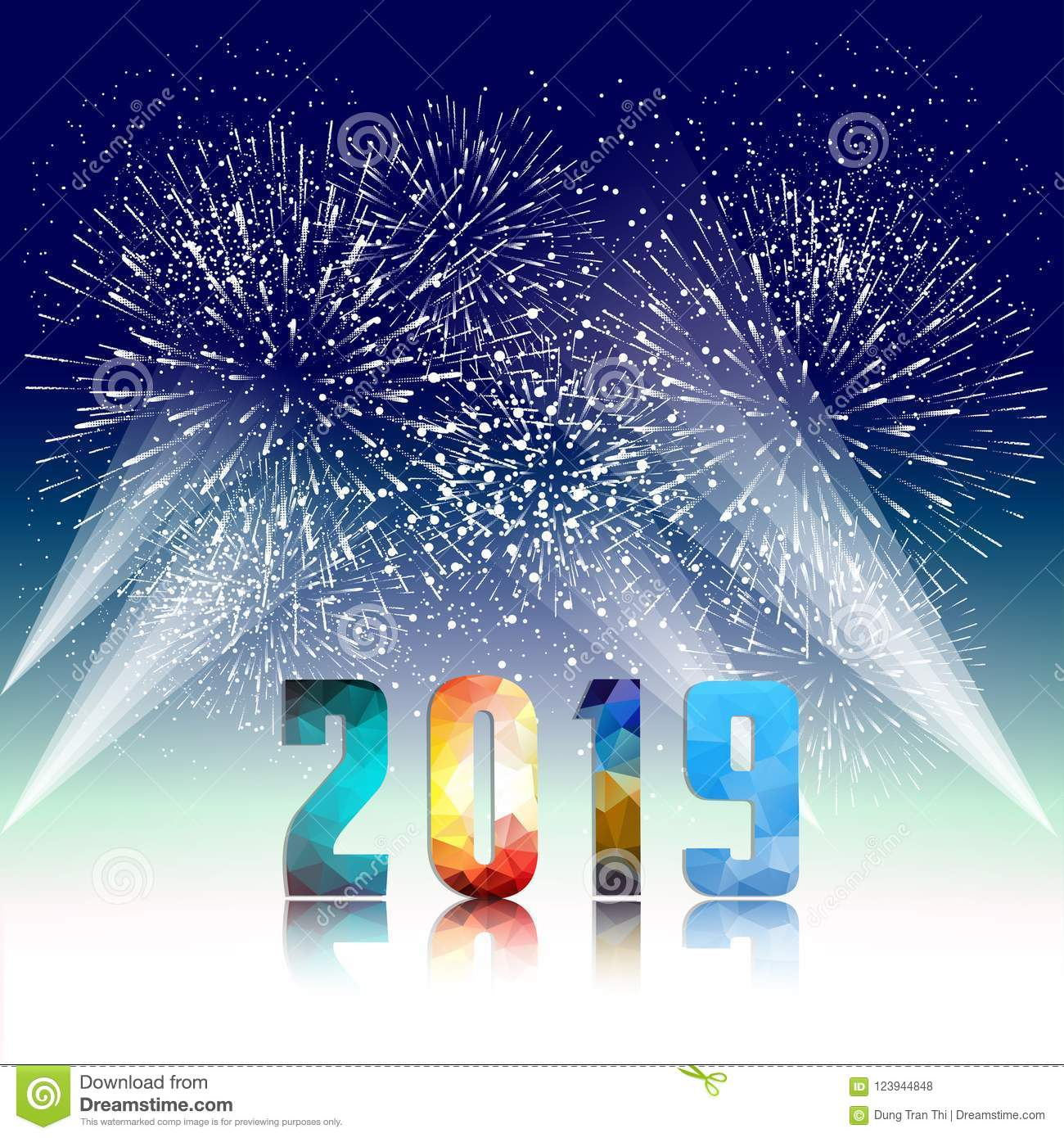 2019 happy new year greeting card with colorful fireworks vector design template
