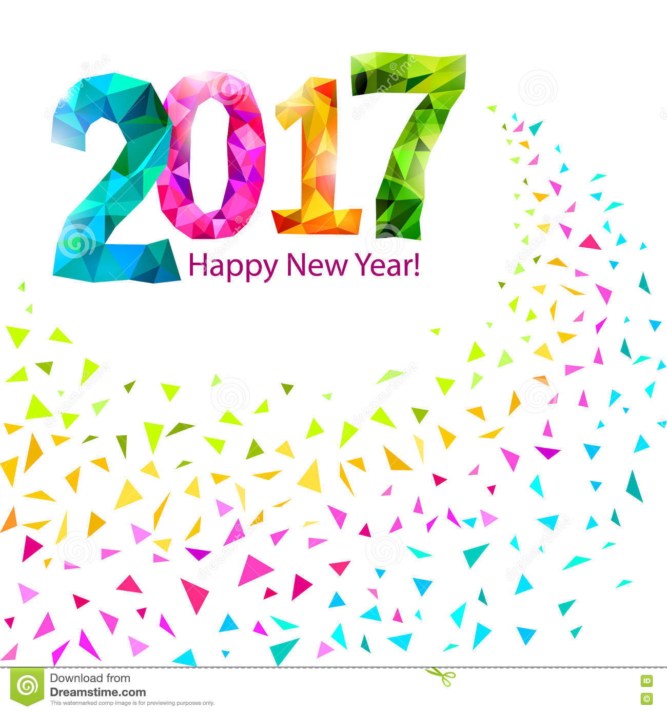 happy new year 2017 greeting card with colorful triangle shape multicolor confetti vector