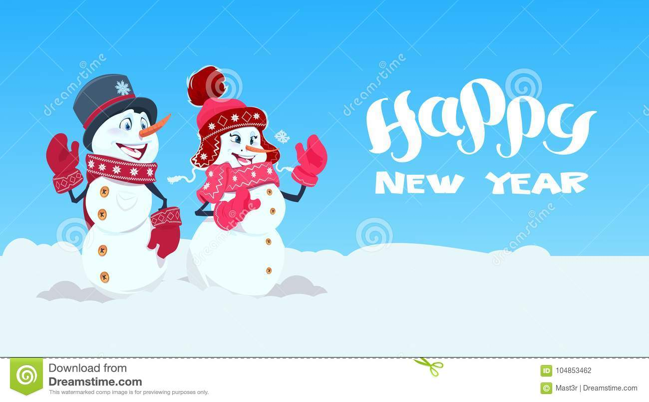Happy New Year Greeting Card With Couple Of Snowman ...