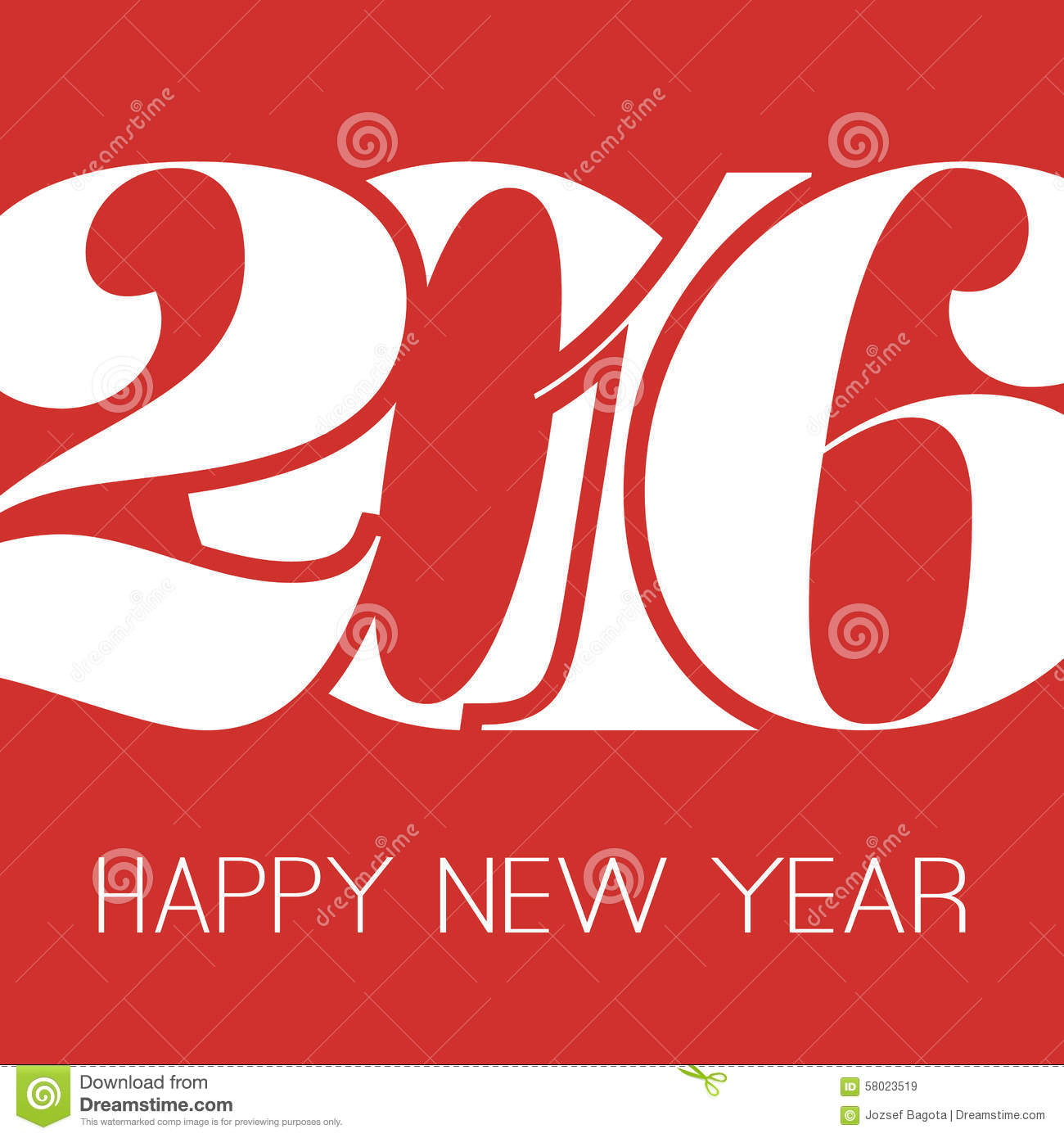 Happy New Year Greeting Card Creative Design Template 2016 Stock