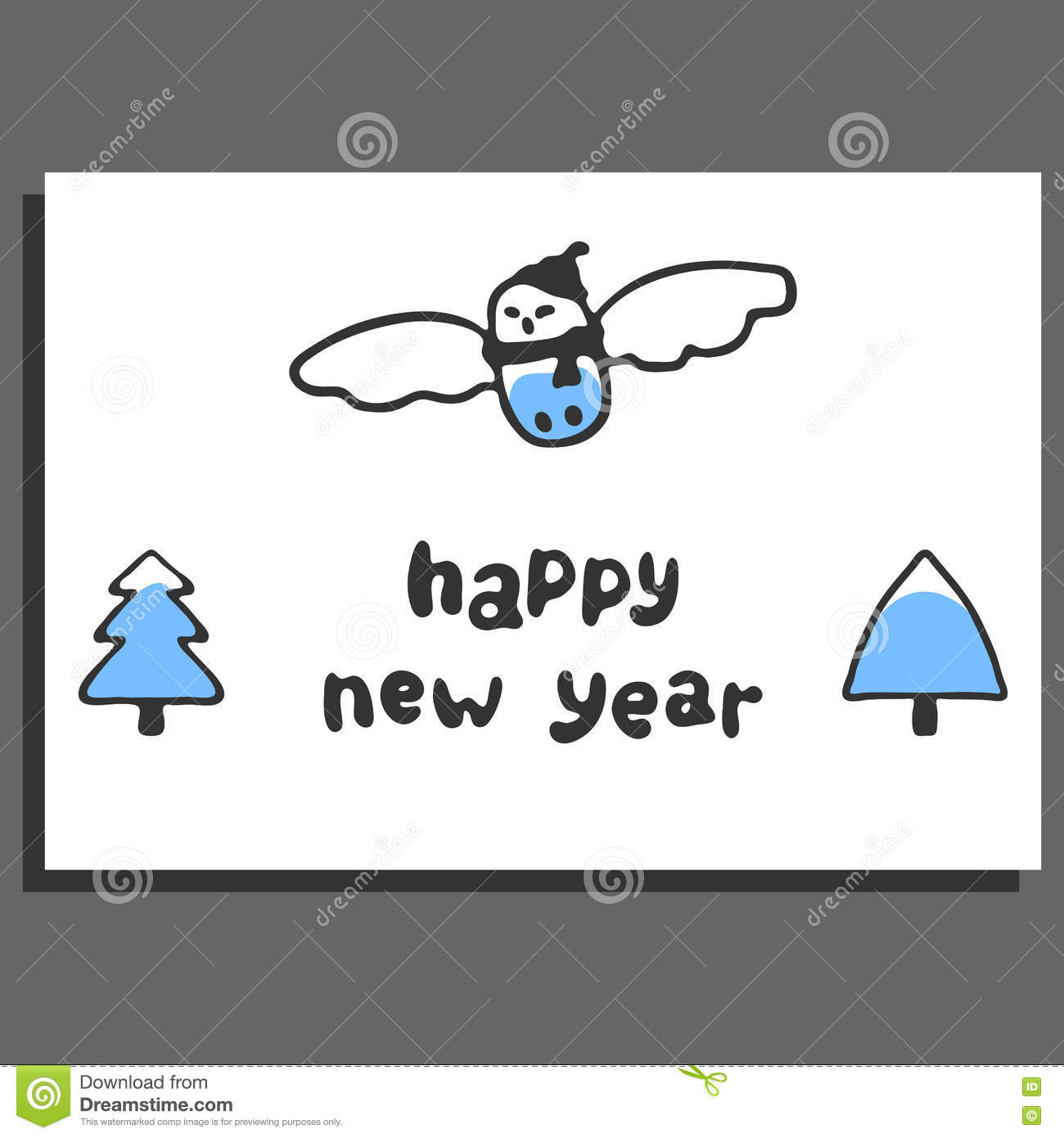 Happy New Year Greeting Card With Cute Cartoon Snowy Owl Stock ...