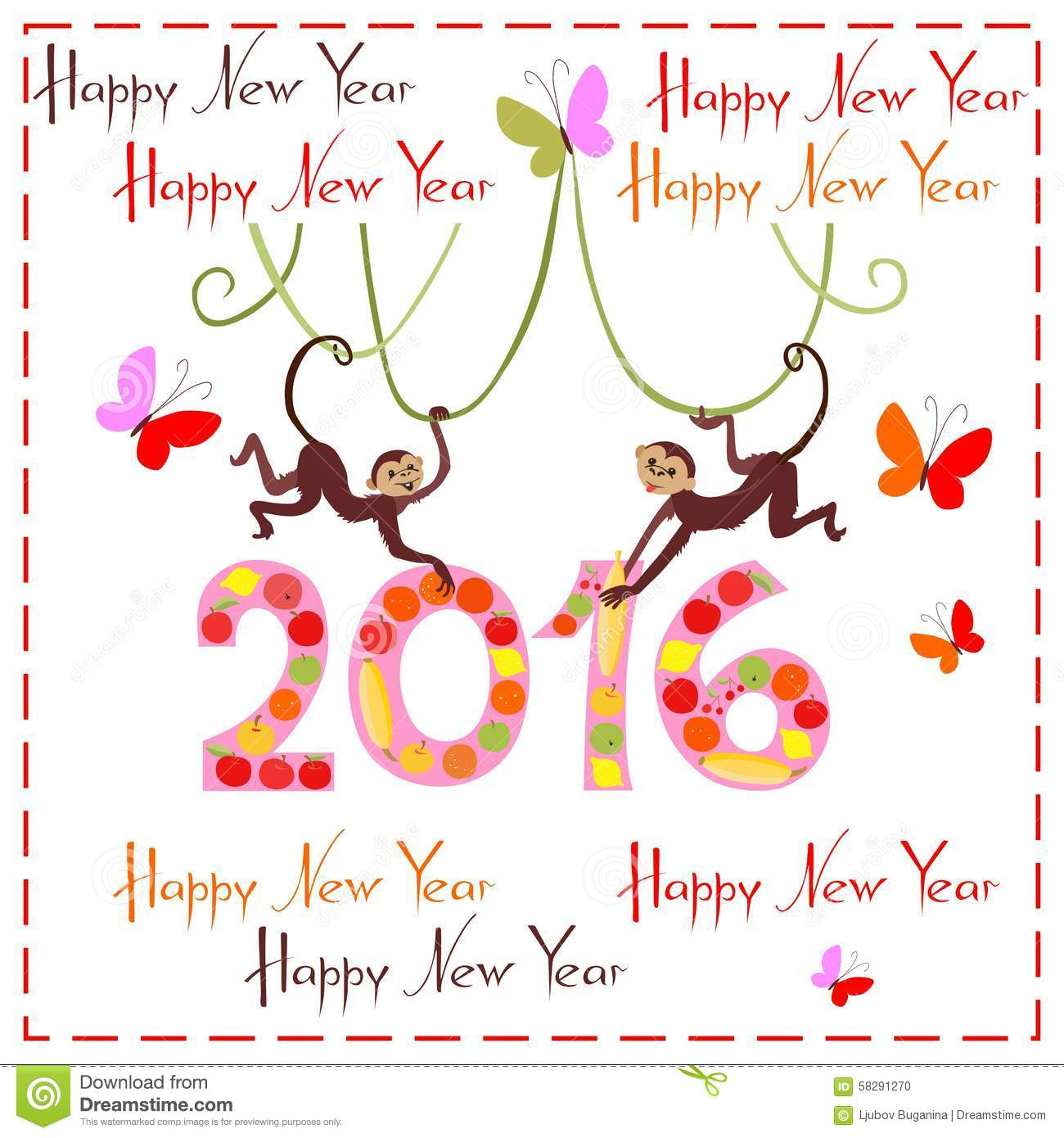 Happy New Year Greeting Card With Cute Monkeys
