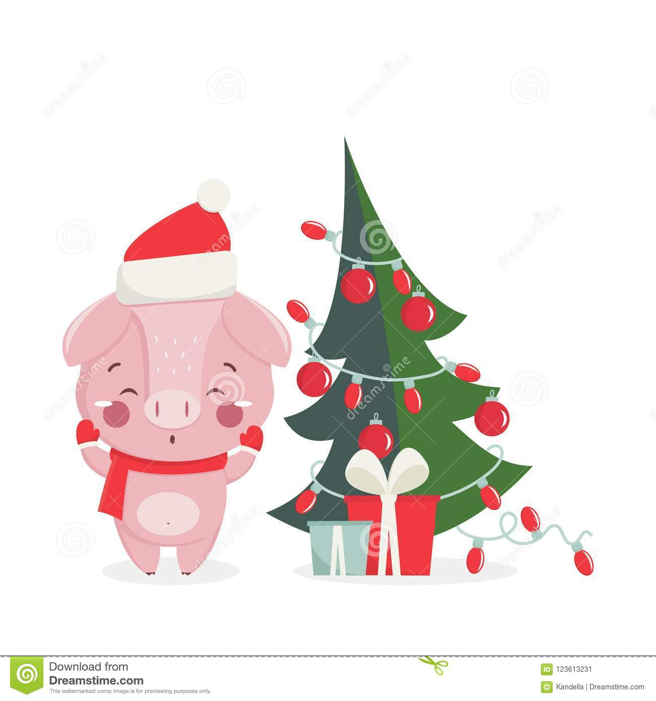 Happy New Year Greeting Card With Cute Pig Stock Vector