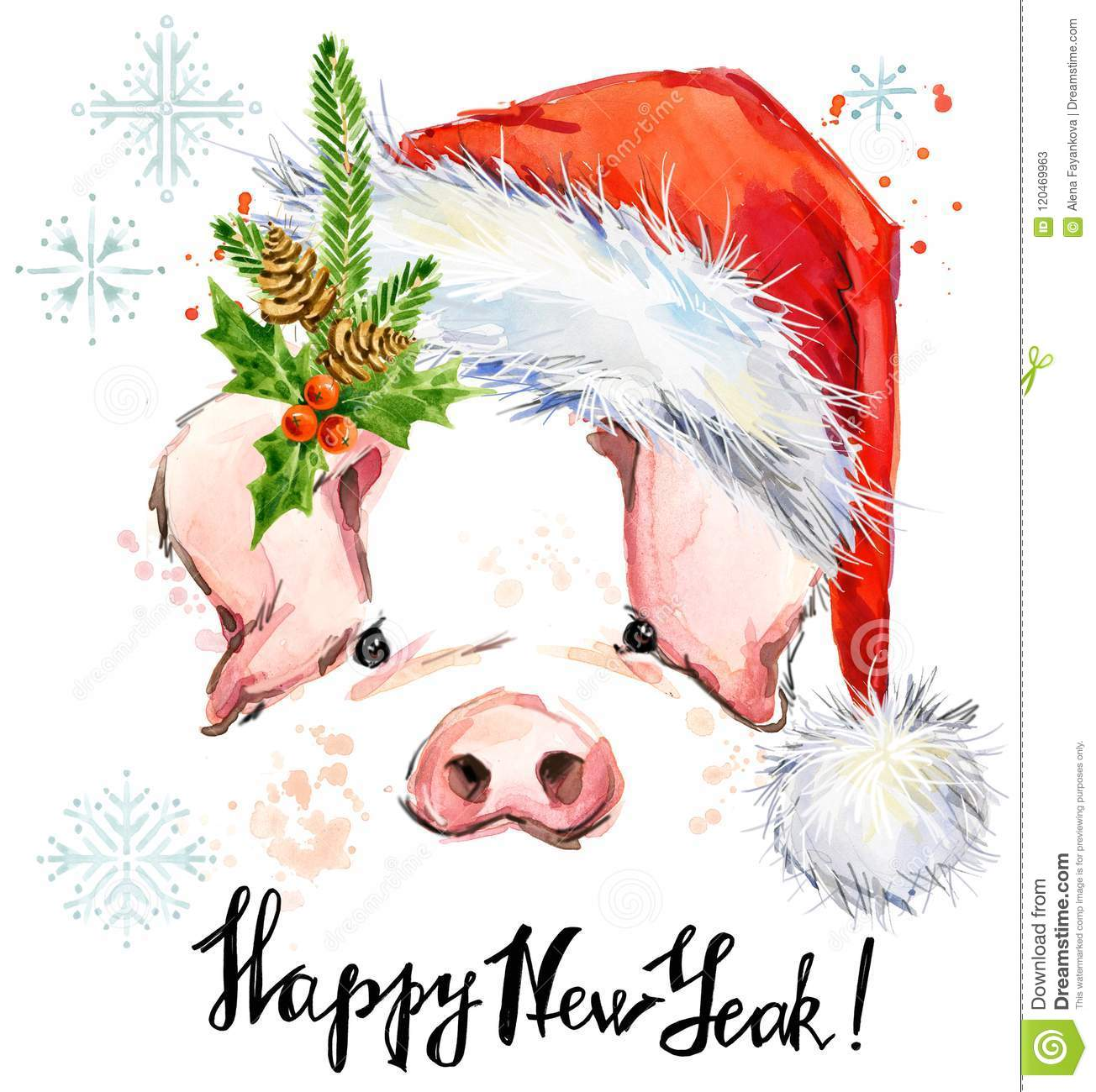 happy new year greeting card cute pig watercolor illustration