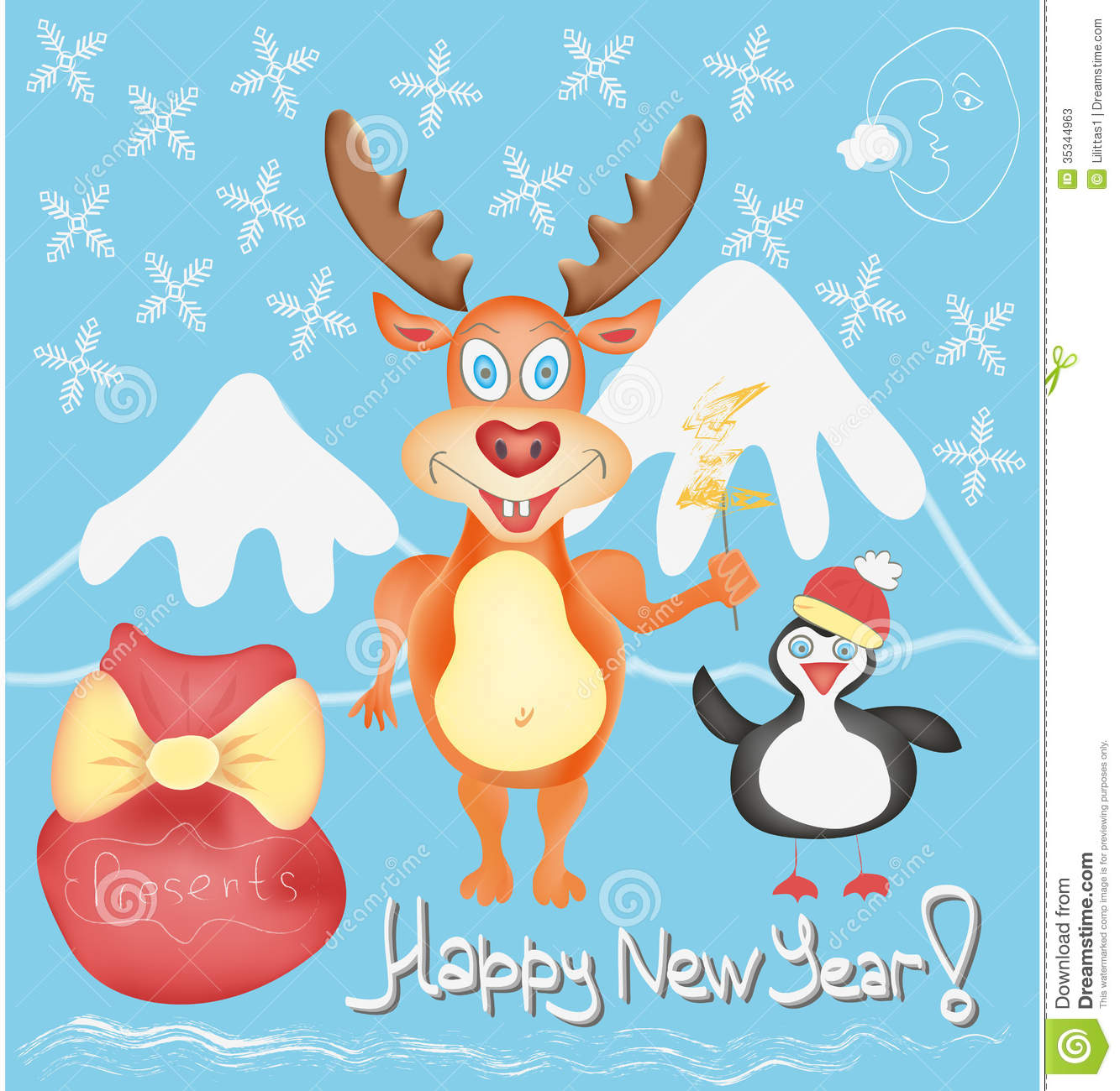 happy new year greeting card with deer and penguin