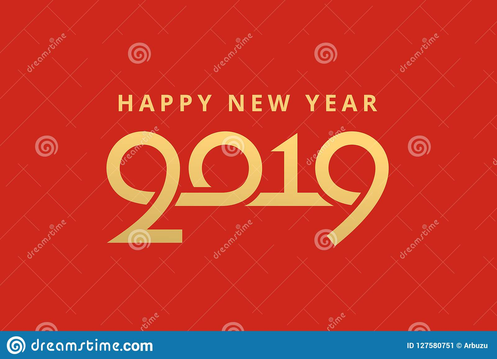 Happy New Year 2019 Greeting Card Design Stock Vector Illustration