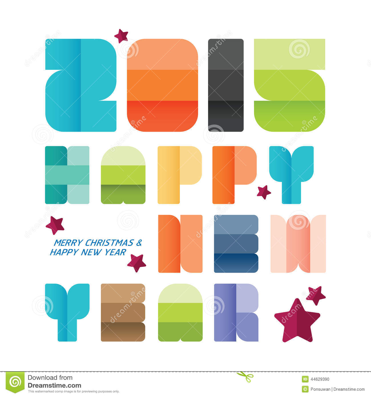 2015 Happy New Year Greeting Card Design Creative Paper Fonts