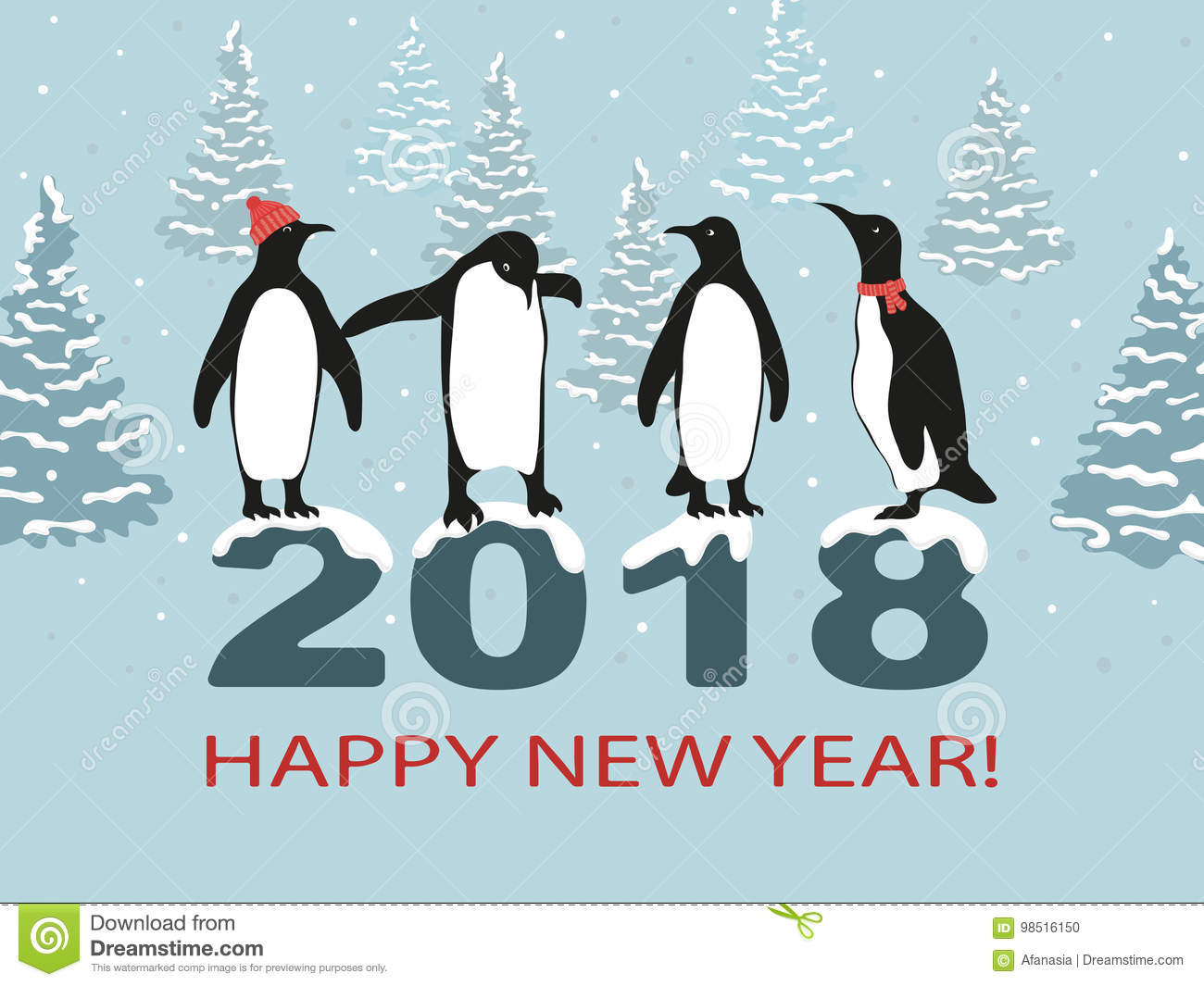happy new year 2018 greeting card design with cute penguins