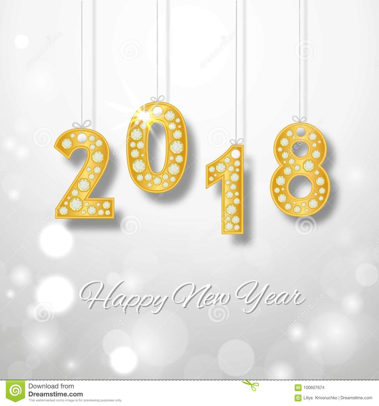 happy new year 2018 greeting card design with golden number and diamonds