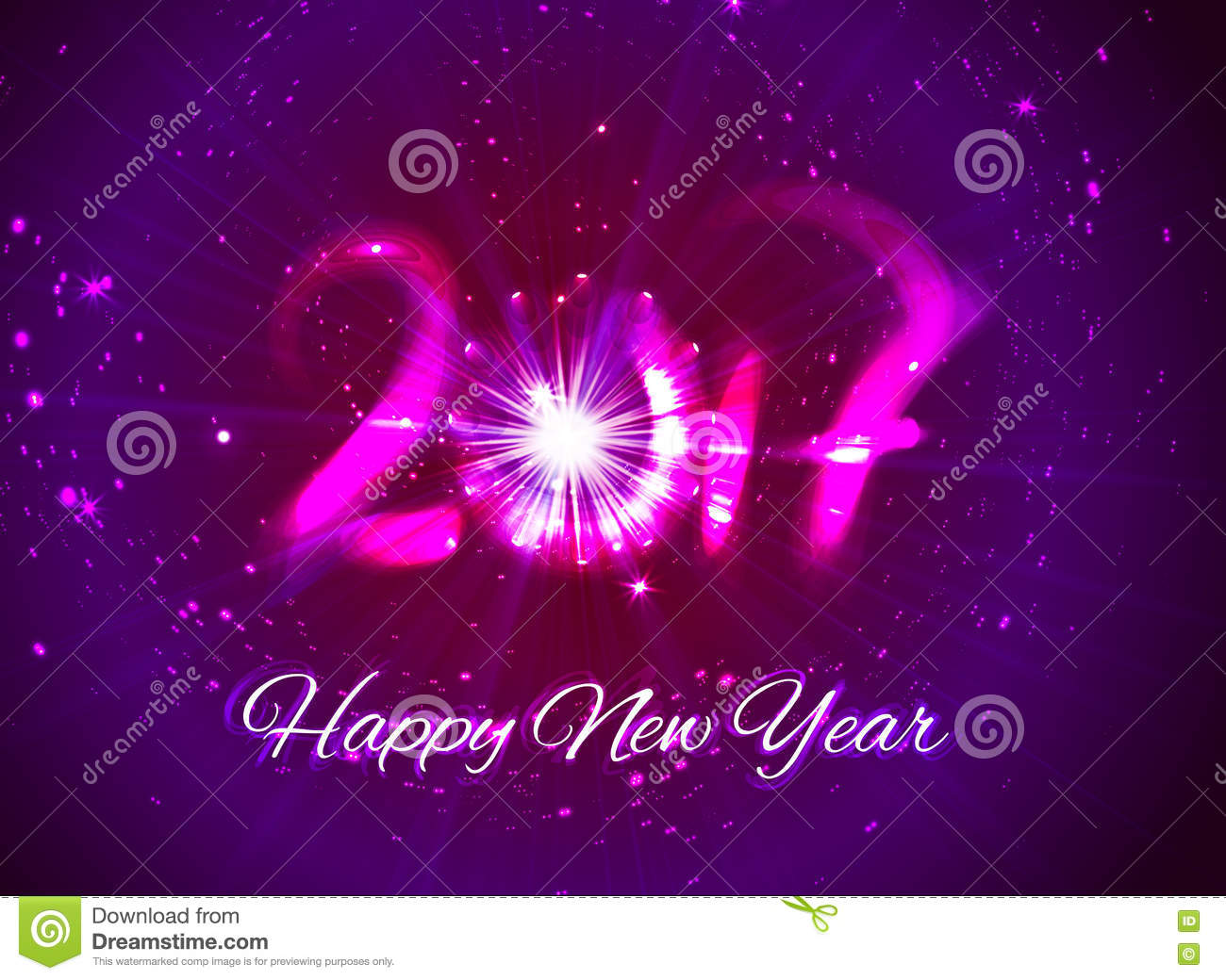 Happy New Year 2017 Greeting Card Design For You Stock Vector