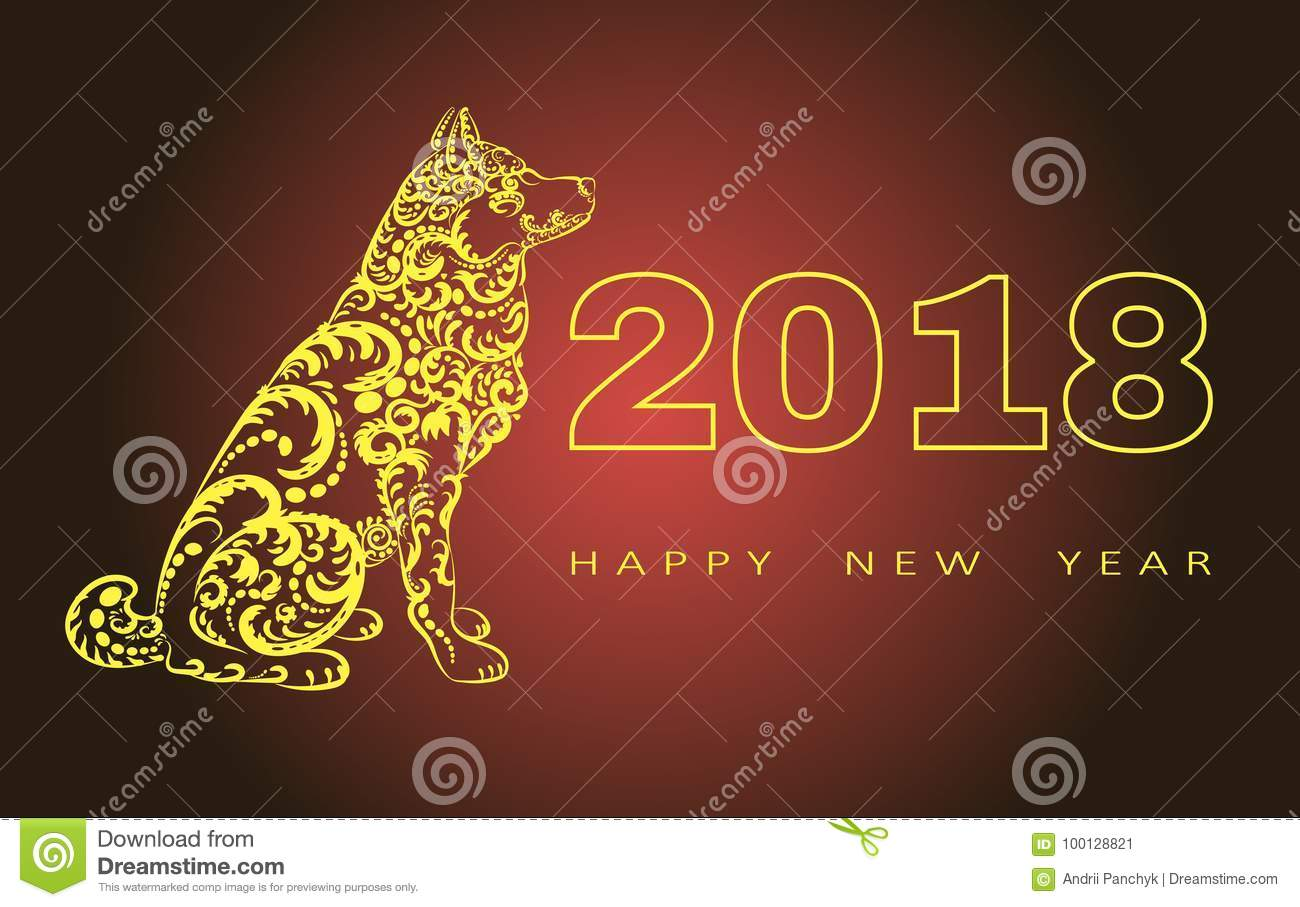 2018 Happy New Year Greeting Cardar Of The Dog Chinese New Year
