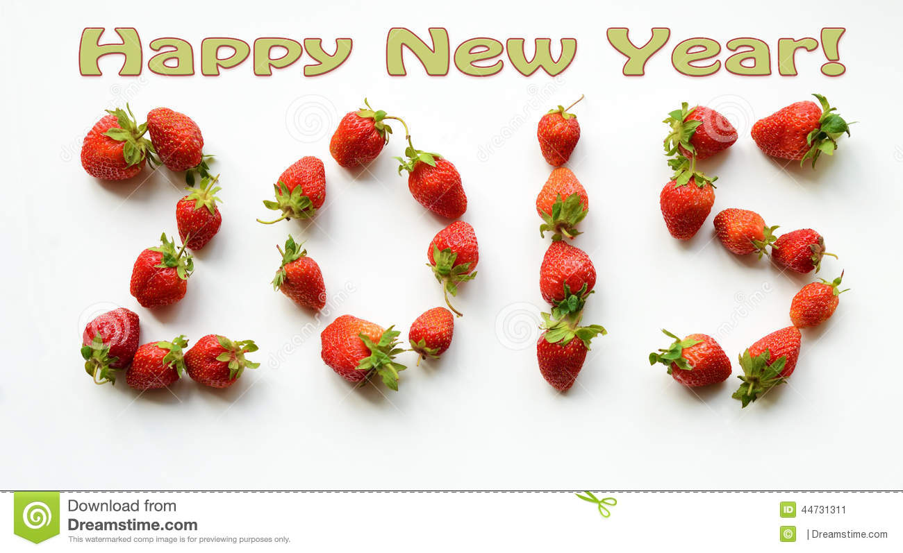 2015 Happy New Year Greeting Card Figures From The Strawberries