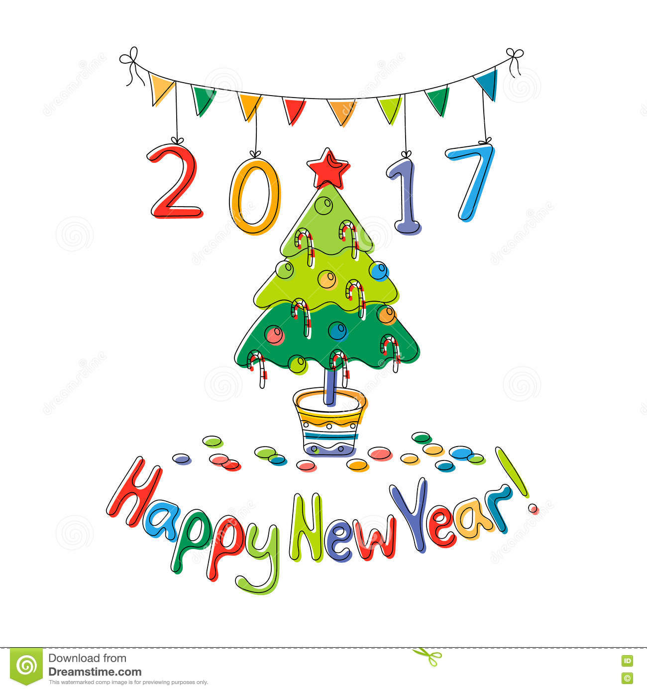 Happy New Year Greeting Card With Fir Stock Vector Illustration