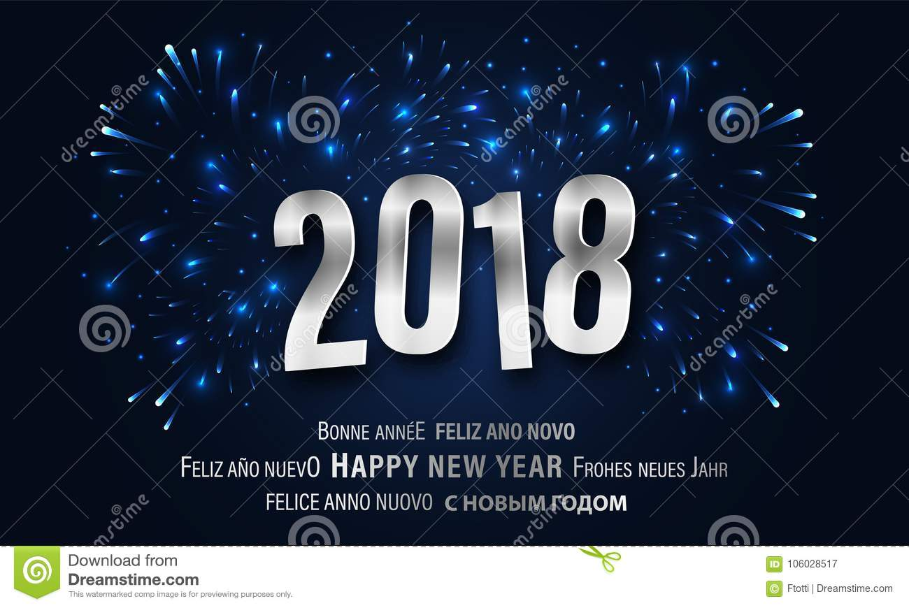 happy new year 2018 greeting card with fireworks