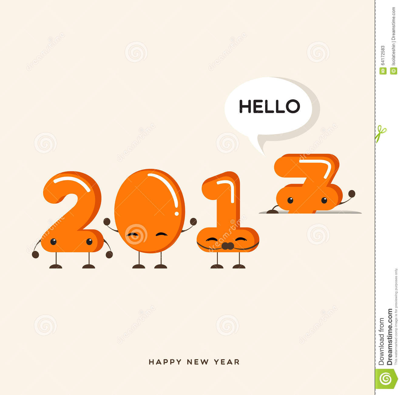 Happy New Year 2017 Greeting Cardfunny Cartoon Number Stock Vector