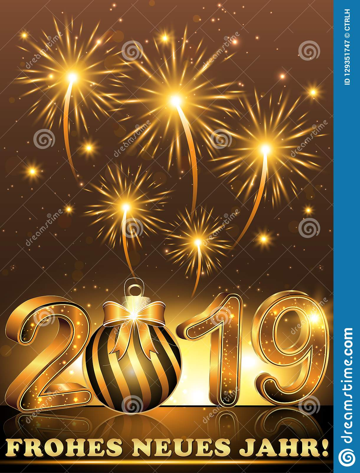 happy new year 2019 greeting card in german