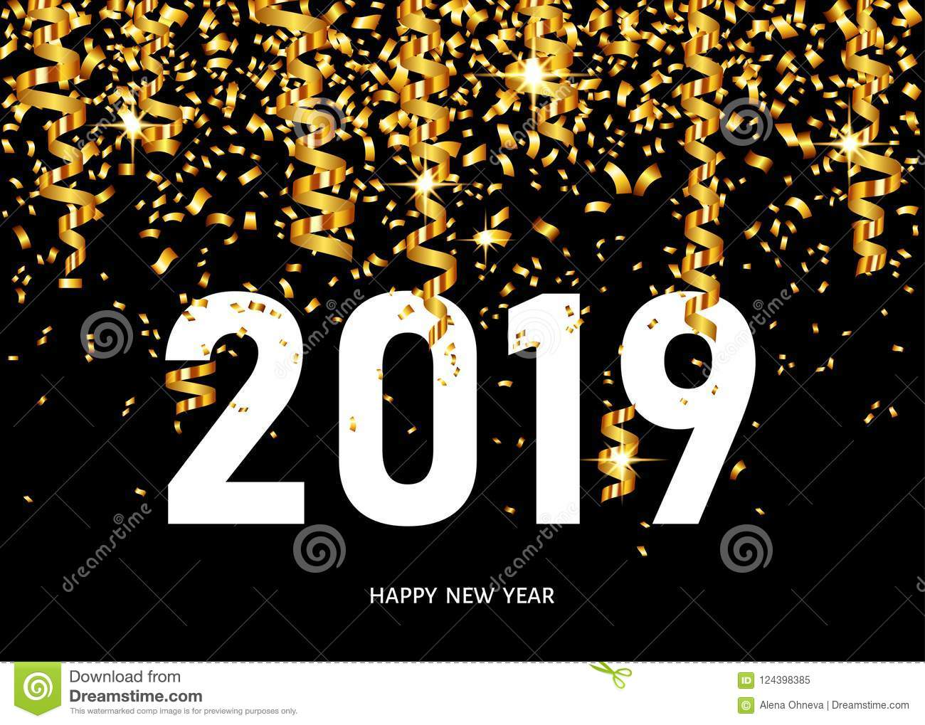 2019 happy new year greeting card with golden confetti stock vector download 2019 happy new year greeting card with golden confetti stock vector illustration of m4hsunfo